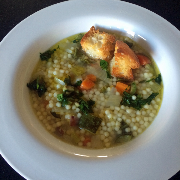 Zuppa di Verdura, Vegetable Soup with Salsa Verde and Croutons detail