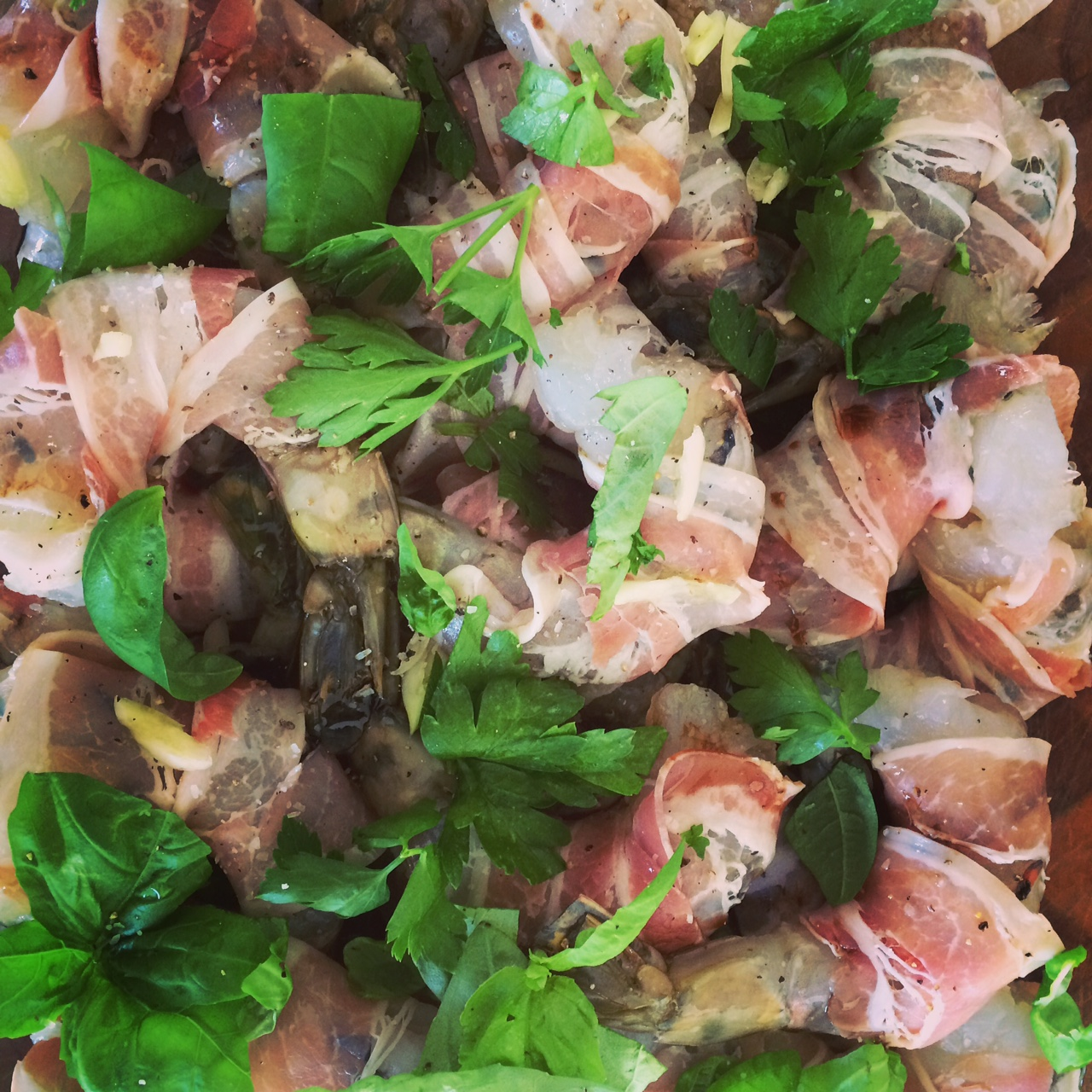 Marinating Pancetta Shrimp by Patricia for Casagiove